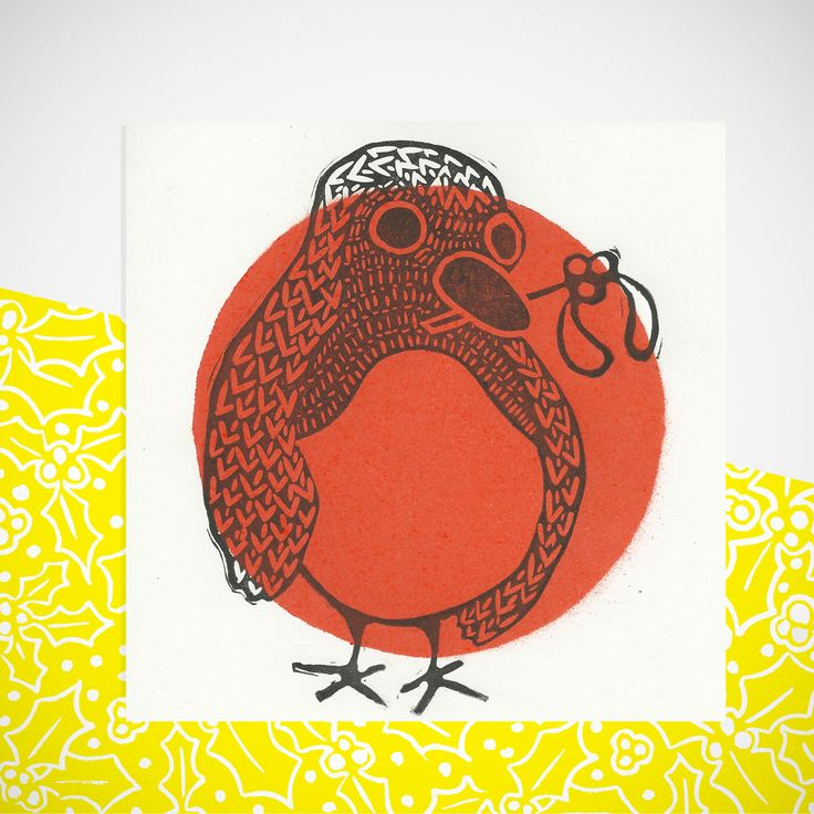 Christmas Robin Card. Hand Printed Greetings Card. by YellowHolly on Etsy