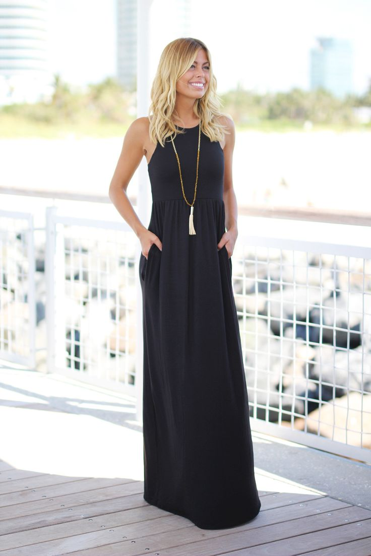 Black maxi dress styled