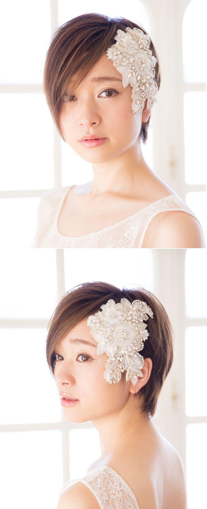 きらびやかなビジューとシャープな前髪でハンサム&クールな花嫁に。横から見ても表情が輝いて見えます♪