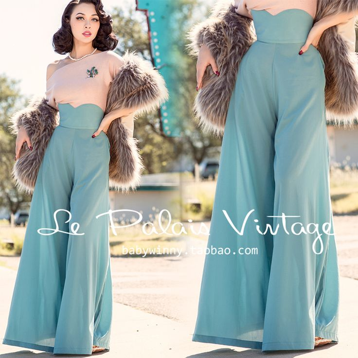 Find More Jumpsuits Information about FREE SHIPPING Le Palais Vintage Limited Edition 2015 New Autumn Elegant Green Silk High Waist Long Pants Wide Leg Romper Women,High Quality romper women,China rompers clubwear Suppliers, Cheap romper playsuit from Mr. and miss on Aliexpress.com