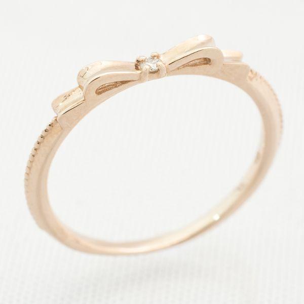 K10ピンクゴールドダイヤリング リボンモチーフ ダイヤ:0.01ct