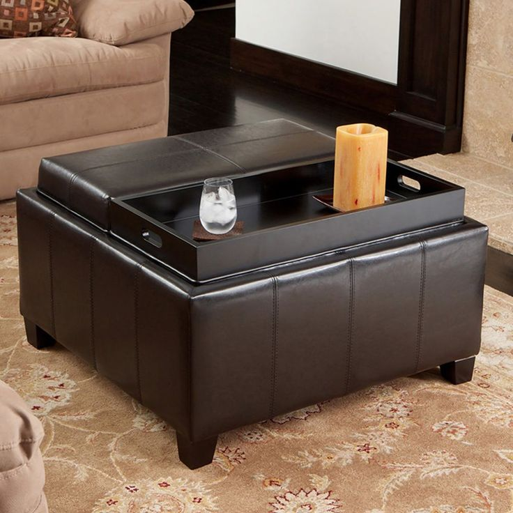 Captivating Beautifully Designed Yet Fantastically Functional, This Leather Tray Top  Ottoman Serves A Number Of Purposes
