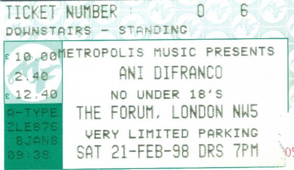 https://flic.kr/p/Ggp8nn | 19980221AniDifranco | 21 Feb 1998 Ani Difranco The Forum London