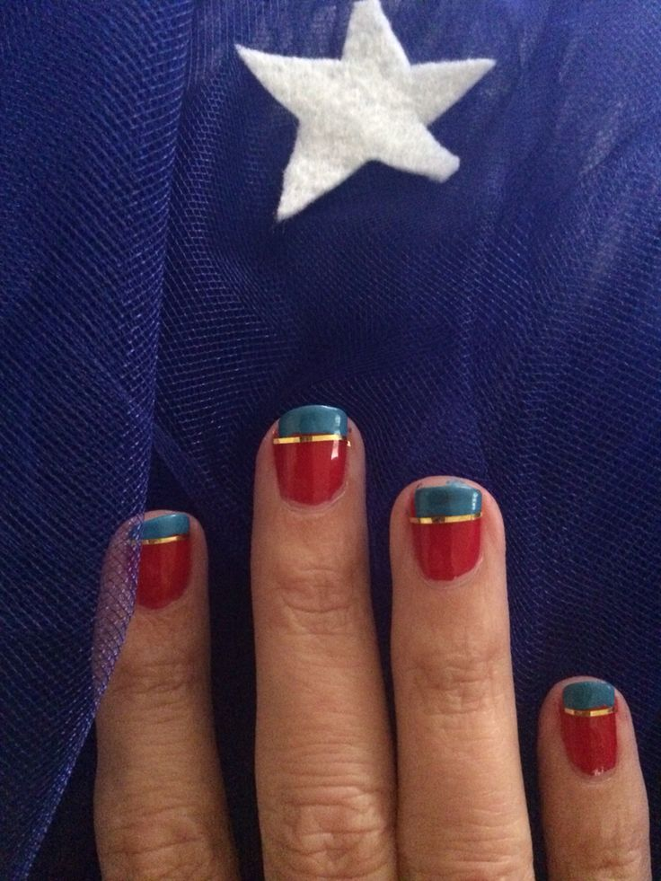 Nail design for Wonder Woman or Supergirl Halloween costume.