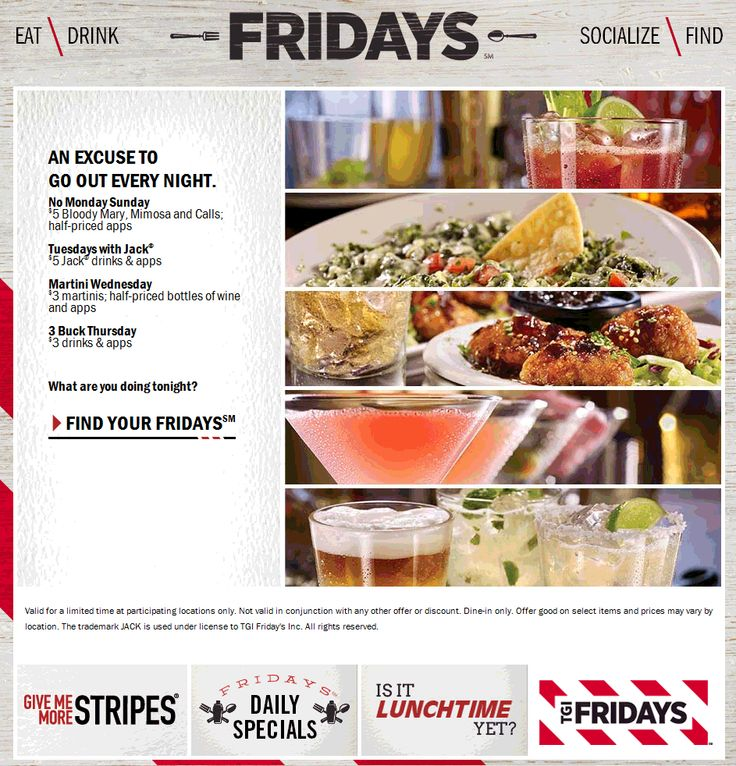 Pinned June 5th: $3 drink and appetizers today at TGI #Fridays #coupon via The #Coupons App