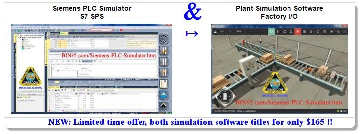 This Siemens PLC Simulator and Plant Simulation Software bundle make for a great Siemens training tool. Especially since both Siemens PLC simulator (s7 sps software)and the factory simulator (Factory I-O) interface with each other to give a full system hands-on experience.