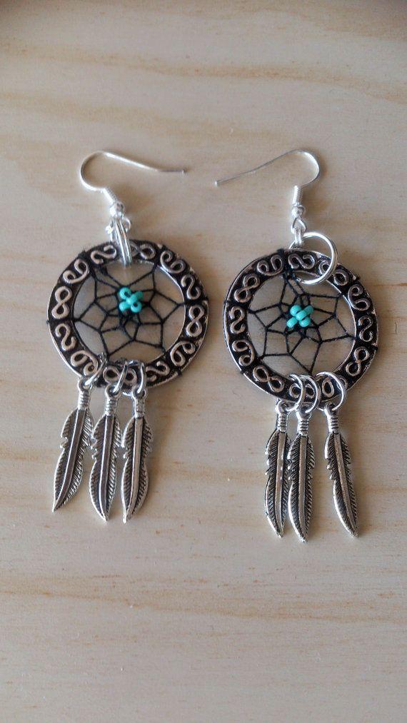 Handgefertigte Traumfänger Ohrringe/Dream Catcher Ohrringe/Silber Dreamcatcher Ohrringe mit Feder-charms