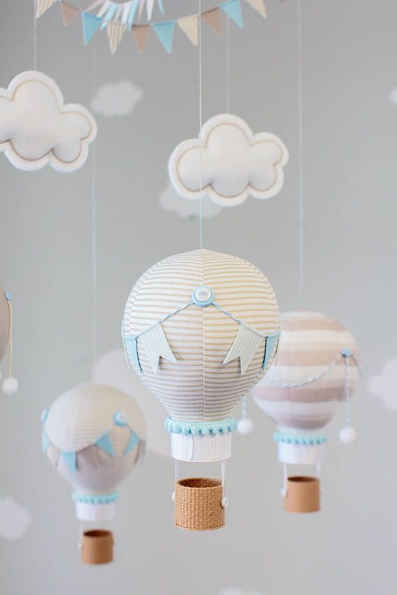 Hot Air Balloon Baby Mobile Taupe And Baby Blue Nursery Decor Travel Theme Nursery I229 Baby Blue Nursery Baby Room Themes Baby Mobile