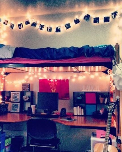 Dorm Decorating Ideas  I love the photos pinned to the string of lights  #HREDreamRoom