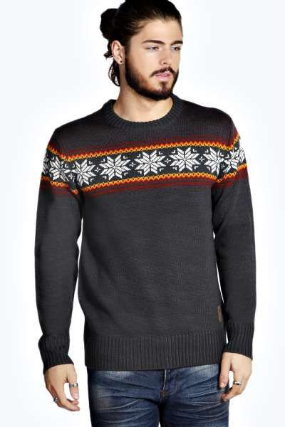 Fairisle Yoke Christmas Jumper at boohoo.com