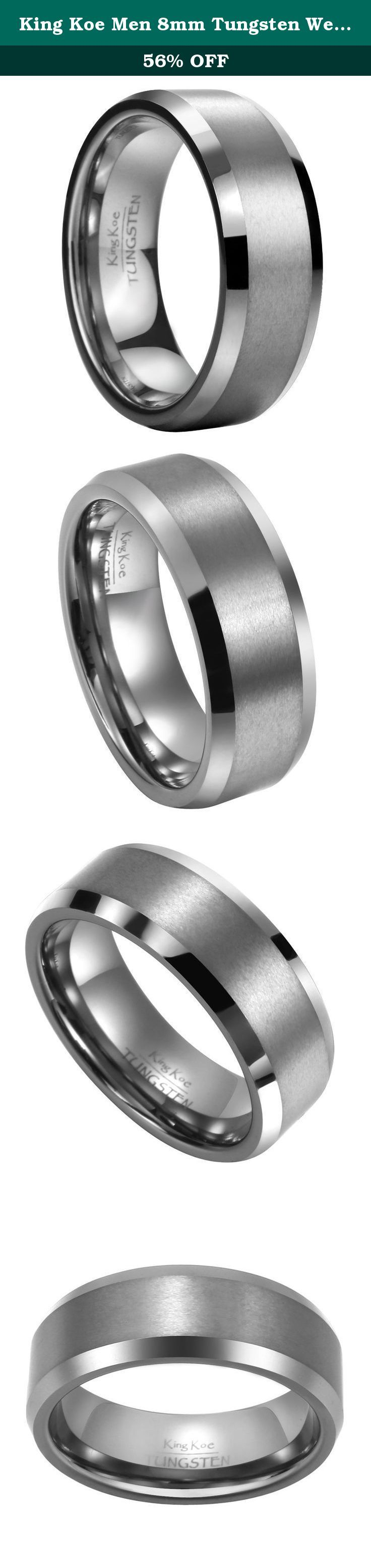 King Koe Men 8mm Tungsten Wedding Band Ring Comfort Matte Finish Life Time Warranty Size 10.5. We are committed to King Koe's credit worthiness and hope all the rings can keep a good condition, so that we provide LIFE TIME WARRANTY! It might be a little bit inaccurate measuring by you. If you are not sure about the correct finger size, we would like to suggest you go to two or three local jewelry stores asking for professional help, that would be better. If you have any question, please…