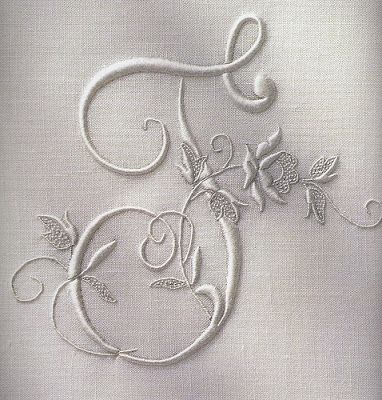 Embroidered monogram -- T