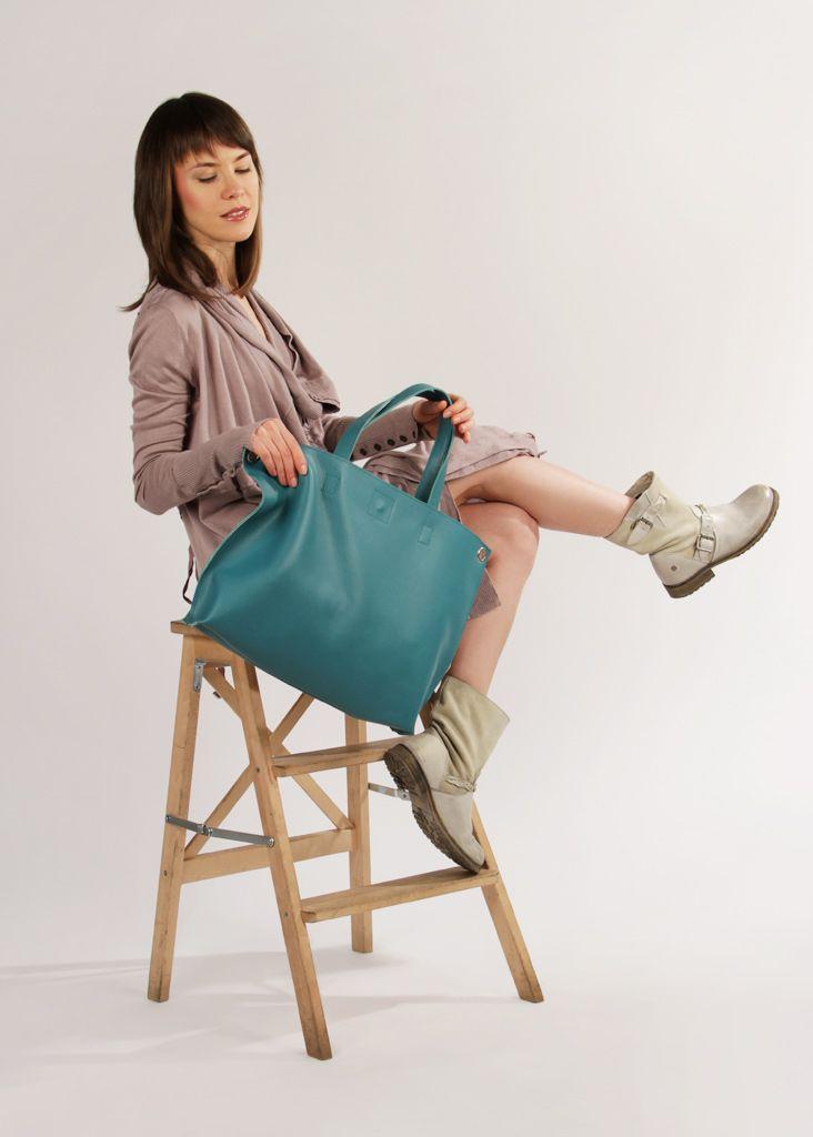 "Blue Leather Crossbody Tote Bag ""Michelle Aqua"", Oversized Shopping Bag, Handmade Tote, Women Laptop Bag, Crossbody Shopper"