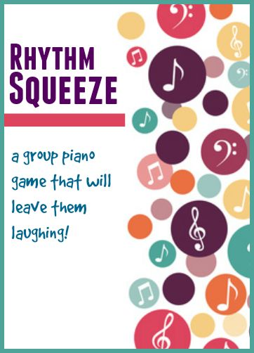 Rhythm Squeeze Group Piano Game. Alternative to holding hands: pat on back and ask others not to watch.