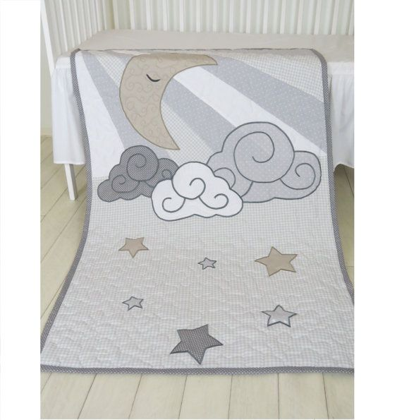 Cloud Boy Quilt, Pastel Moon Baby Blanket, Gray, White Beige  Heirloom Gift, Infant Bedding, Crib Bedding