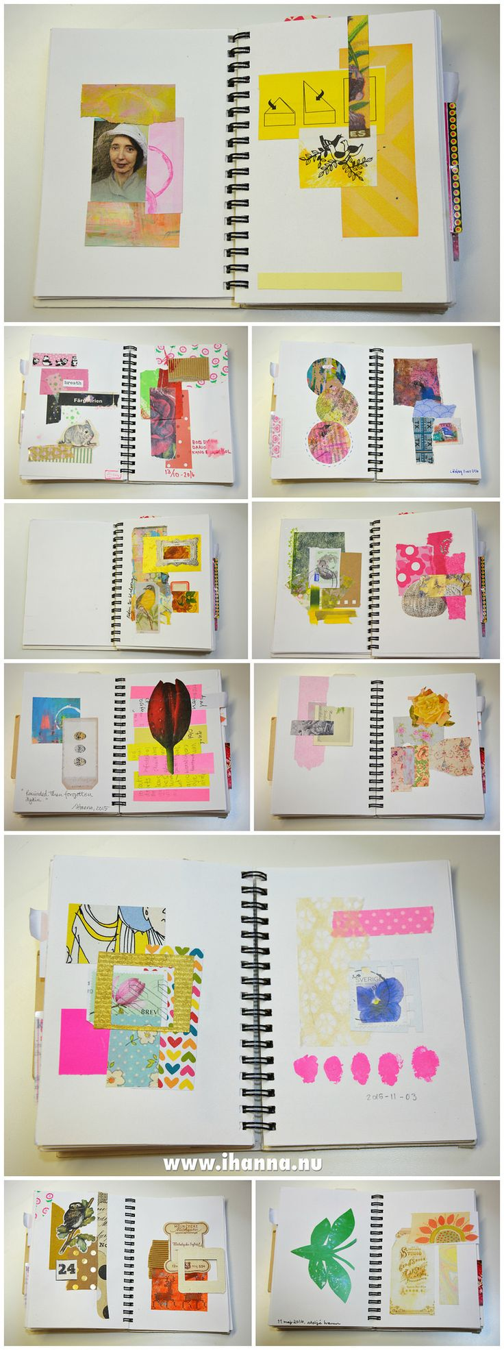 Tiny Scrap Notebook for warm up Collages + flip through video of the whole book made by iHanna #collage