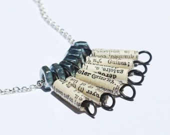 Paper Bead Jewelry French Dictionary Necklace Paper Bead by Tanith