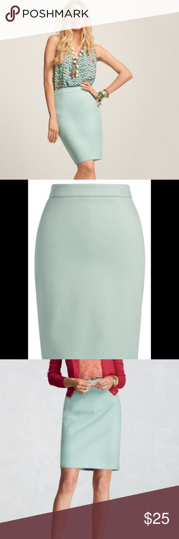 CAbi New Pencil Skirt in Almond #360 NEW Sz 0 CAbi New Pencil Skirt in Jordan Almond.  Brand New and in Excellent Condition!  Zip-up back and bottom slit.  98% Cotton and 2% Spandex - Size 0 CAbi Skirts Pencil