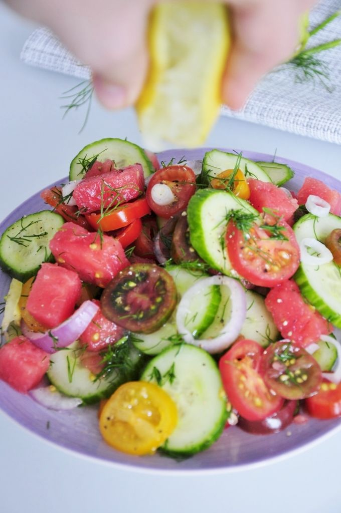 Heirloom Tomato Salad Recipe with Watermelon, Cucumber, Fresh Dill, and Red Onion. Use your best tomatoes for this Oil-free Healthy Summer Salad with lemon.