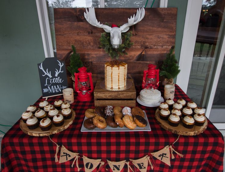 Lumberjack first birthday party!     #plaid #flannel #firstbirthday #deserttable #buffalocheck #pancake #cake #birthday #one #lumberjack