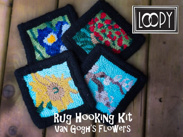 Rug Hooking Kit Van Gogh's Flowers, 4 Coasters Rug Hooking Kit by LoopyWoolSupply on Etsy