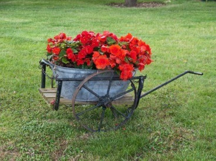Old Wagon With Galvanized Tub Turned Planter