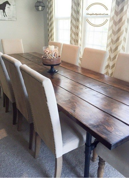 Learn how to build an easy industrial farmhouse pipe leg dining table that seats up to 12 people for under $300.