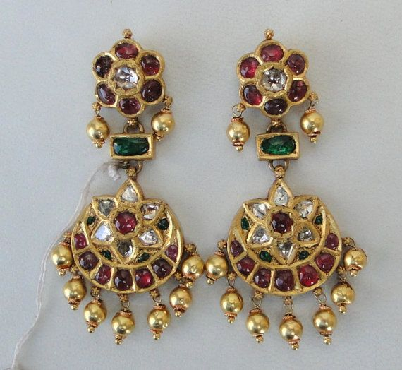 diamond and ruby Antique Earrings