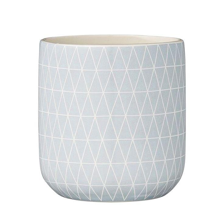 Pot 10,5 cm en céramique motif graphique bleu