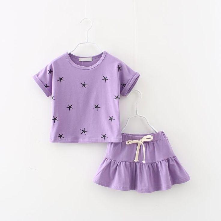 Set Fashion Print Star T-Shirt And Skirt