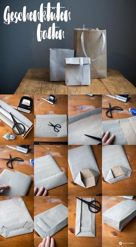 DIY Geschenktüten falten Schritt für Schritt - einfache Geschenkverpackung in jeder beliebigen Größe