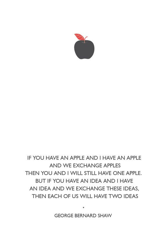 Apple  George Bernard Shaw Quote Poster A4   by ClaireHefferDesign, £15.00