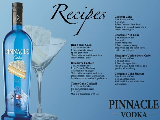 Pinnacle Cake Vodka Recipes ~Now you can have your cake and drink it too! drinkables