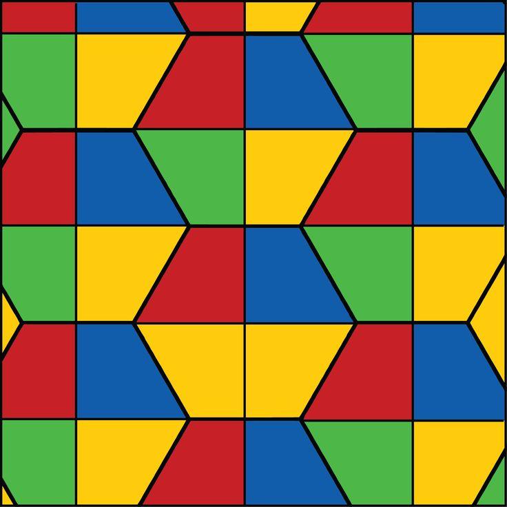 Split Hexagons Primary Color Scheme Geometric Tile