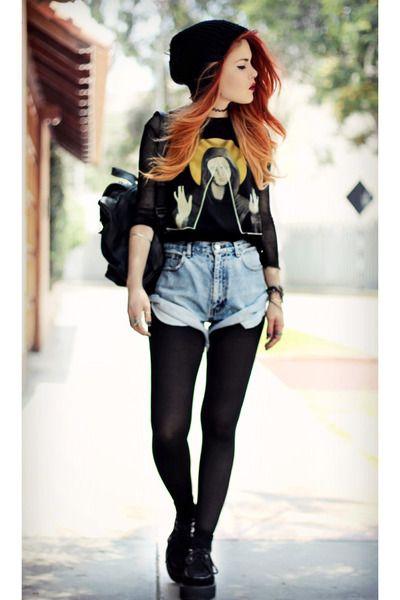 black romwe shoes - blue vintage shorts - black Choies t-shirt