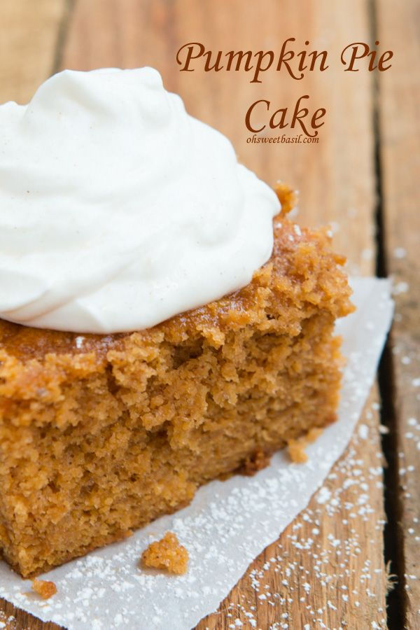 Mom's BEST Pumpkin Pie Cake ohsweetbasil.com