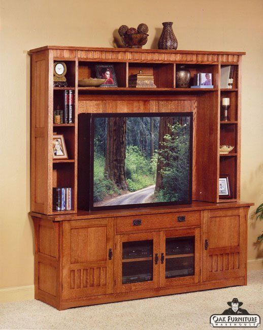 Mission TV Stand and Entertainment Hutch Trend Manor