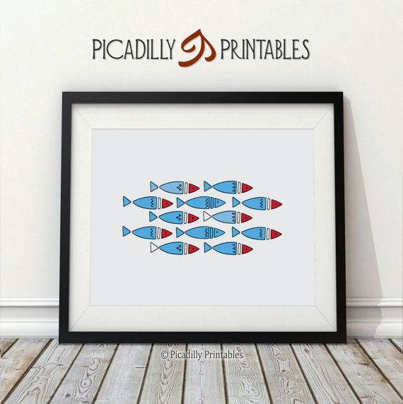 Scandinavian Fish  Wall Art Home Decor  by PicadillyPrintables