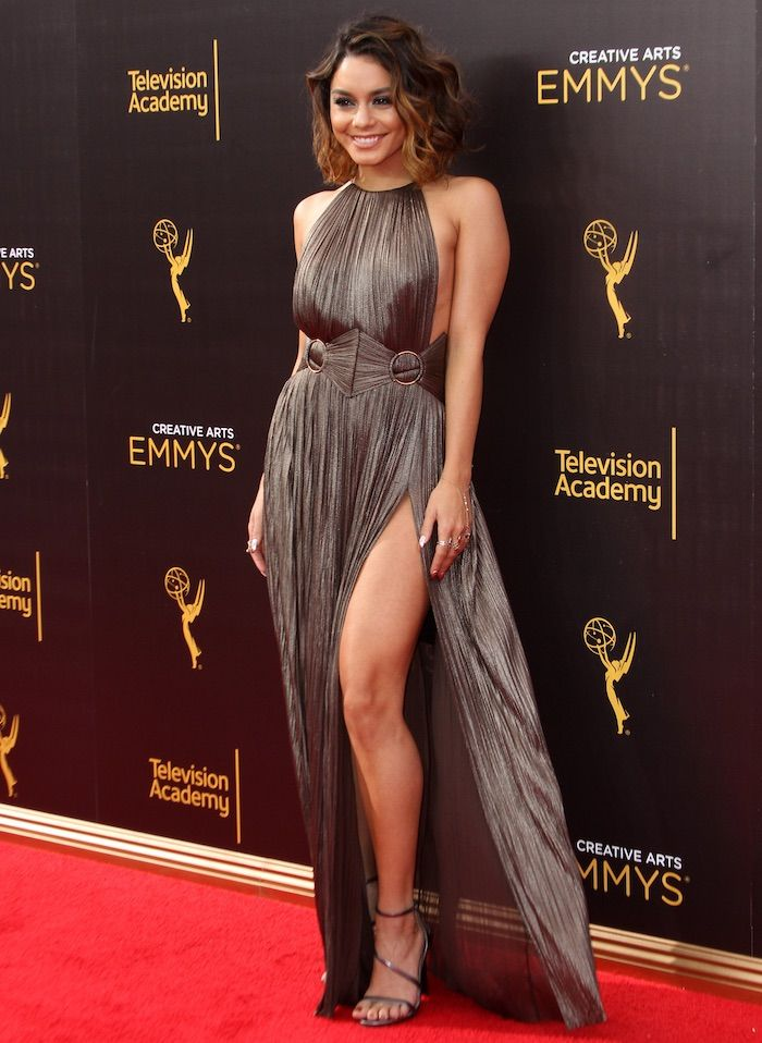"Vanessa Hudgens walks the carpet in a Maria Lucia Hohan gown paired with Stuart Weitzman ""Sultry"" sandals at the Creative Arts Emmys on September 12, 2016 on Los Angeles"