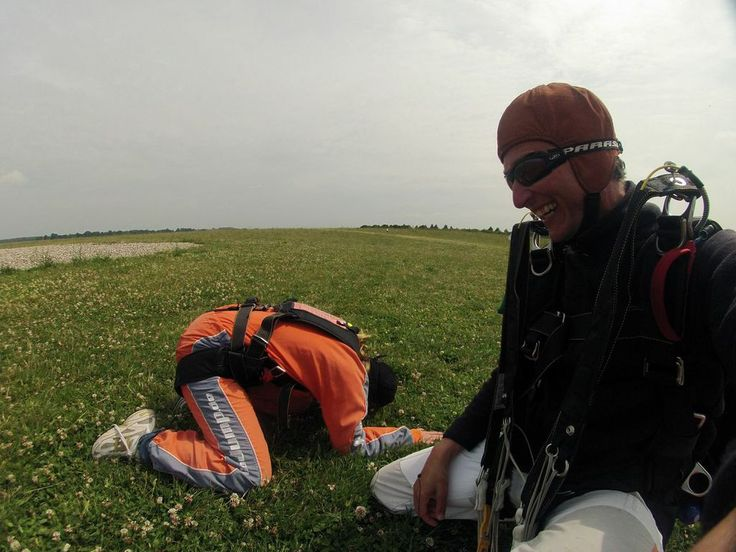 Big celebrations after landing back on Earth! Never been so happy to see the ground before! #skydiving  http://www.gojump.de/en.html