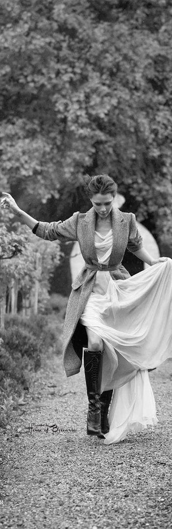 ~Victoria Beckham by Patrick Demarchelier - Vogue UK August 2014 (Schiaparelli Dress & Louboutin Boots)   House of Beccaria