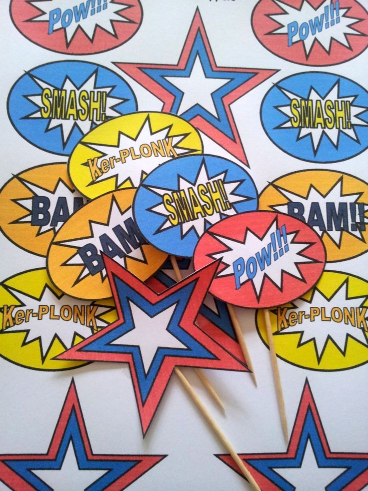 Free superhero Pop Art Cupcake Toppers 2 768x1024 DIY Superhero Pop Art Party:  Fun and Frugal Ideas