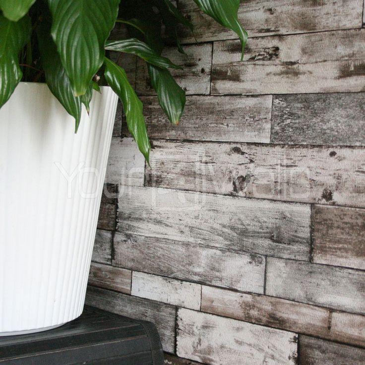 Rustic Wood Scrapwood Reclaimed Wood Wallpaper Natural Beige tones, Striped wood