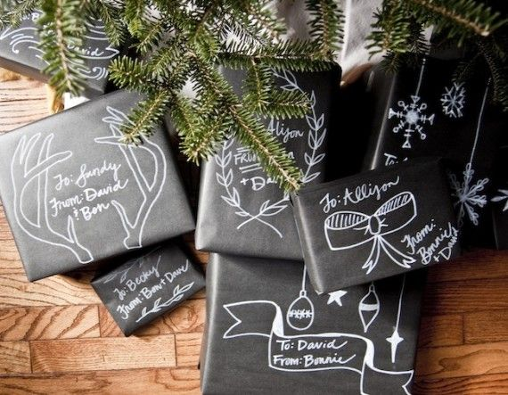 wrapping christmas packages in black craft paper and using white marker to label/decorate....this is adorable!