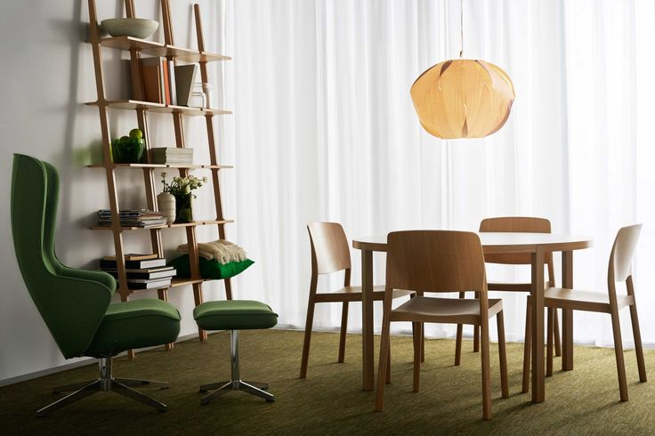 Swedese - Libri shelf by Michael Bihain, Norma easy chair by Roger Persson, Grace chair by Staffan Holm and Bespoke table by Roger Persson