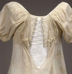 Gown (detail of interior fastening), Denmark, 1817, Tidens Tøj