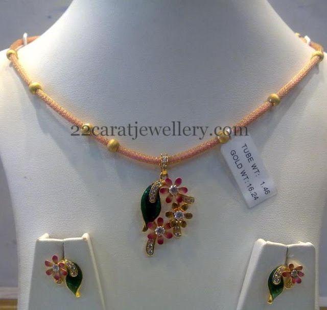 Jewellery Designs: 16 Grams Fancy Necklace