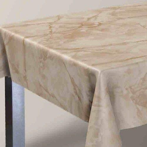 Ensfarvet voksdug med marmoreffekt - beige
