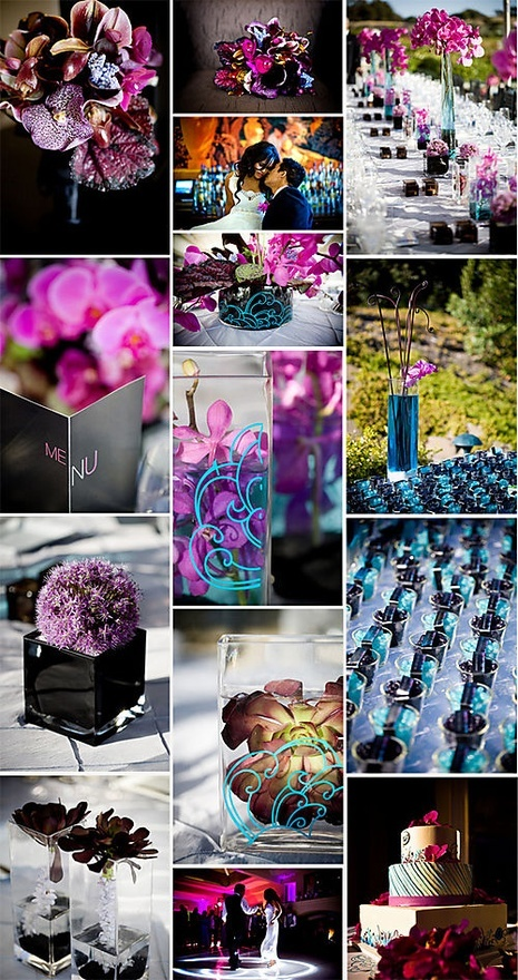 Wedding color palette of purple, black, turquoise and pink