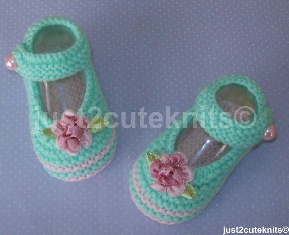 Hand Knitted Baby Girls Booties by just2cuteknits on Etsy